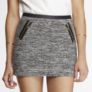 Express Zippered Black and White Mini Skirt